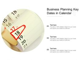 Business Planning Key Dates In Calendar