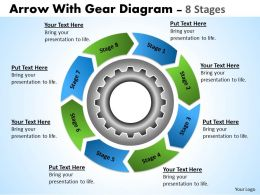Business Planning Process With Gears And Circular Arrows 8 Stages