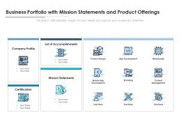 Business Portfolio With Mission Statements And Product Offerings