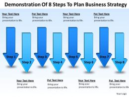 Business Power Point Demonstration Of 8 Steps To Plan Strategy Powerpoint Templates