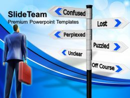 Business Powerpoint Examples Confused Signpost Metaphor Ppt Backgrounds