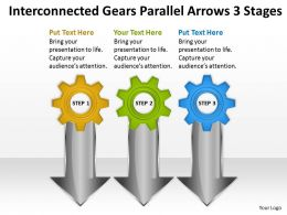 Business Powerpoint Examples Interconnected Gears Parallel Arrows 3 Stages Templates