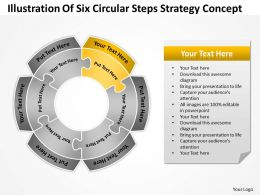 Business Powerpoint Examples Of Six Circular Steps Strategy Concept Templates