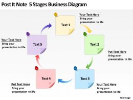 Business Powerpoint Examples Post It Note 5 Stages Diagram Templates