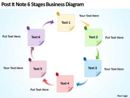 Business Powerpoint Examples Post It Note 6 Stages Diagram Templates
