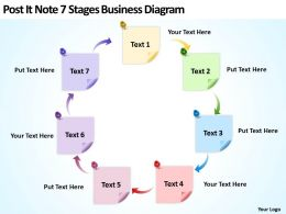 Business Powerpoint Examples Post It Note 7 Stages Diagram Templates