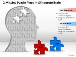 Business PowerPoint Templates 2 missing Strategy Puzzle piece silhouette brain Sales PPT Slides