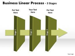 Business PowerPoint Templates 3 stage linear process Sales PPT Slides