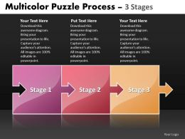 Business PowerPoint Templates 3 stages multicolor puzzle process Sales PPT Slides