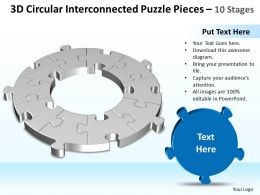 Business PowerPoint Templates 3d circular flow interconnected Puzzle pieces Sales PPT Slides