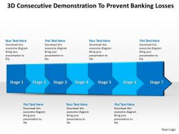 Business PowerPoint Templates 3d consecutive demonstration to prevent banking losses seven steps Sales PPT Slides