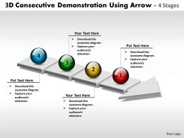 Business PowerPoint Templates 3d consecutive demonstration using arrow of 4 stages Sales PPT Slides