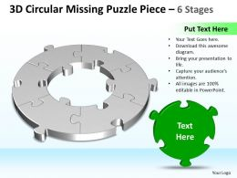 Business PowerPoint Templates 3d cycle missing Puzzle piece 6 stages Sales PPT Slides