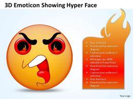 Business PowerPoint Templates 3d emoticon showing hyper face Sales PPT Slides