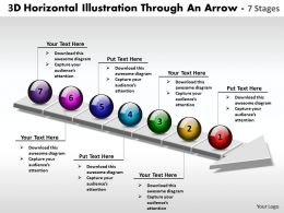 Business PowerPoint Templates 3d horizontal illustration through an arrow 7 stages Sales PPT Slides