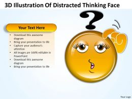 Business PowerPoint Templates 3d illustration of distracted thinking face Sales PPT Slides