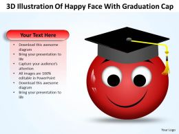 Business PowerPoint Templates 3d illustration of happy face with graduation cap Sales PPT Slides