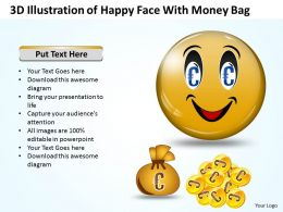 Business PowerPoint Templates 3d illustration of happy ppt face with money bag Sales Slides
