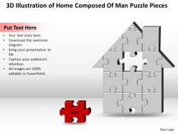 Business PowerPoint Templates 3d illustration of home composed man puzzle pieces Sales PPT Slides