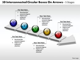 Business PowerPoint Templates 3d interconnected circular boxes arrows 5 stages Sales PPT Slides