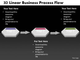 Business PowerPoint Templates 3d linear process work flow chart Sales PPT Slides