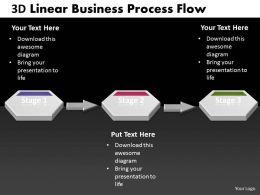 Business PowerPoint Templates 3d linear process work flow chart Sales PPT Slides