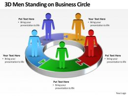 Business PowerPoint Templates 3d men standing on circle Sales PPT Slides