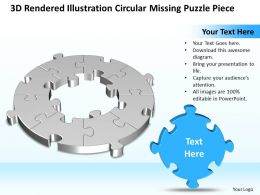 Business PowerPoint Templates 3d rendered illustration circular missing puzzle piece Sales PPT Slides