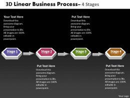 Business PowerPoint Templates 4 phase diagram ppt 3d linear process Sales Slides