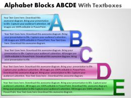 Business PowerPoint Templates alphabet blocks abcde with textboxes Sales PPT Slides