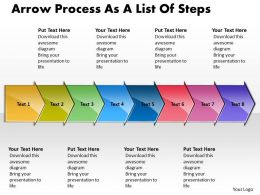 Business PowerPoint Templates arrow process as list of steps Sales PPT Slides 8 Stages