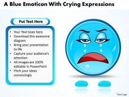 Business PowerPoint Templates blue emoticon with crying expressions Sales PPT Slides