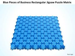 Business PowerPoint Templates blue pieces of rectangular jigsaw Problem Solving Puzzle matrix Sales PPT Slides