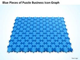 Business PowerPoint Templates blue pieces of Strategy Puzzle icon graph Sales PPT Slides