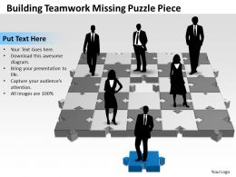 Business PowerPoint Templates building teamwork missing puzzle piece Sales PPT Slides