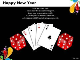 Business PowerPoint Templates cards and dices happy new year Sales PPT Slides