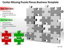 Business PowerPoint Templates center missing Puzzle pieces Sales PPT Slides