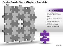 Business PowerPoint Templates centre Puzzle piece misplace Sales PPT Slides