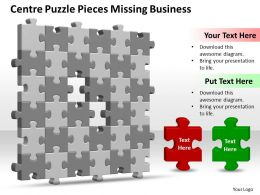 Business PowerPoint Templates centre puzzle pieces missing design layout Sales PPT Slides