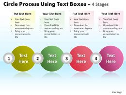 Business PowerPoint Templates circle process using text boxes 4 stage Sales PPT Slides