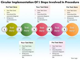 Business PowerPoint Templates circular implementation of 5 steps involved procedure Sales PPT Slides