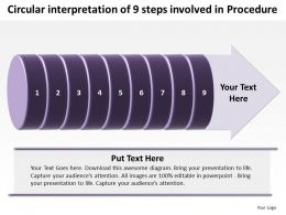 Business PowerPoint Templates circular interpretation of 9 steps involved procedure Sales PPT Slides