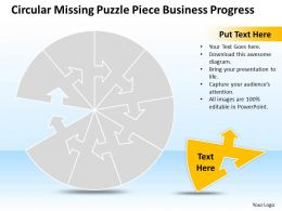 Business PowerPoint Templates circular missing puzzle piece progress Sales PPT Slides