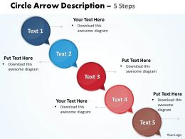 Business PowerPoint Templates circular ppt arrow description of 5 steps Sales Slides
