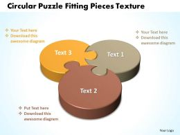 Business PowerPoint Templates circular puzzle fitting pieces texture Sales PPT Slides
