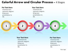 Business PowerPoint Templates colorful arrow and circular process 4 stages Sales PPT Slides