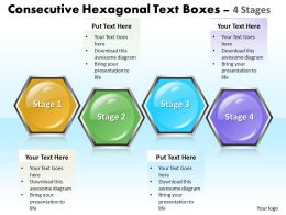 Business PowerPoint Templates consecutive hexagonal text boxes 4 stages Sales PPT Slides