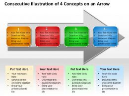 Business PowerPoint Templates consecutive illustration of 4 concepts an arrow Sales PPT Slides