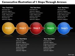 Business PowerPoint Templates consecutive illustration of 5 steps through arrows Sales PPT Slides