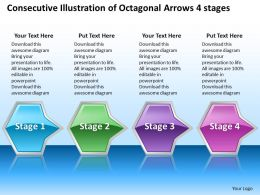 Business PowerPoint Templates consecutive illustration of octagonal arrows 4 stages Sales PPT Slides